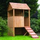 Kids Wooden Lookout Post Play House With Ramp